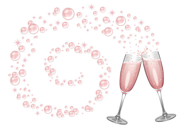 pink champagne background - champagnerglas stock-grafiken, -clipart, -cartoons und -symbole