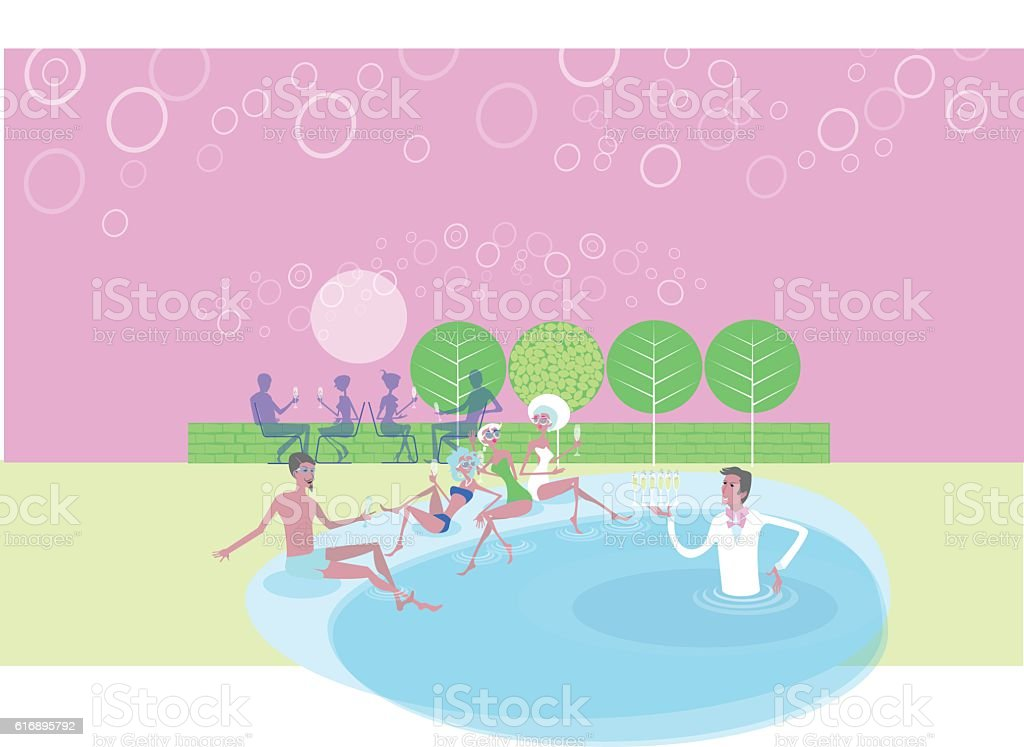 pink champagne vector art illustration