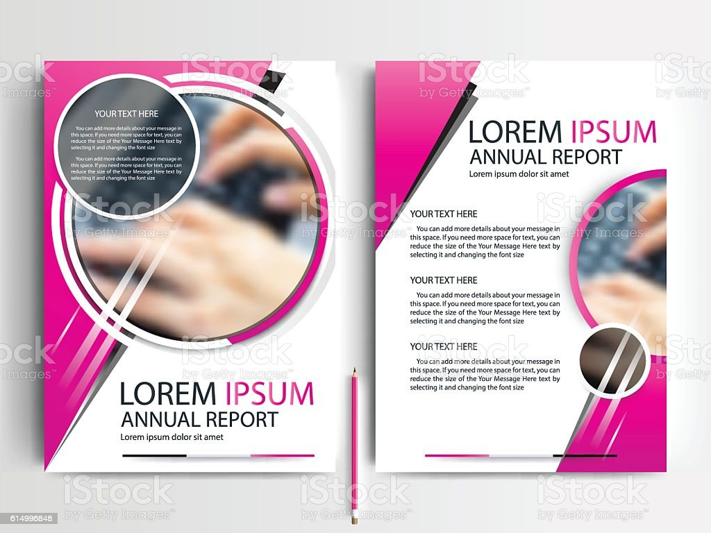 pink circle flyer brochure template design of annual report