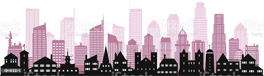 Pink City (37 Buildings) royalty-free stock vector art