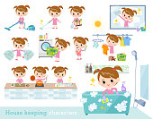A set of girl related to housekeeping such as cleaning and laundry.There are various actions such as cooking and child rearing.It's vector art so it's easy to edit.