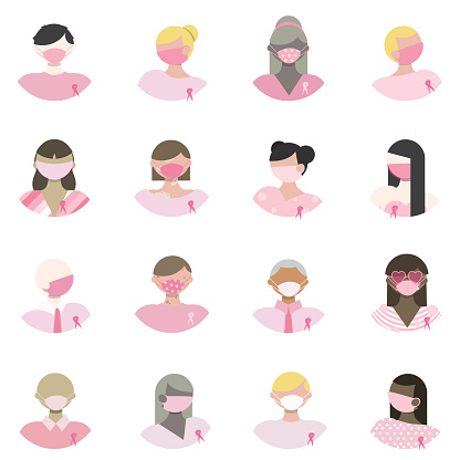 Pink Color Challenge - Breast Cancer Awareness - People with Pink Ribbons Avatar Set