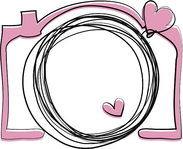 pink color doodle camera illustration向量藝術插圖
