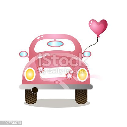 istock Pink colorful retro couple car with heart balloon 1207730751