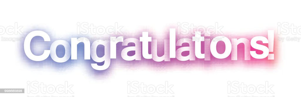pink congratulations sign on white background stock vector art
