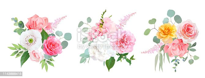 Pink, coral and yellow rose, white hydrangea, carnation, papaver, peony, garden flowers, eucalyptus, astilbe, greenery, leaves vector wedding design bouquets All elements are isolated and editable