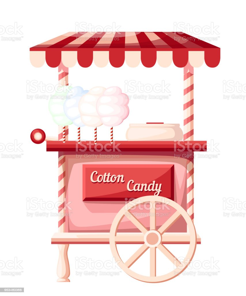 Pink cotton candy cart kiosk on wheels portable store idea for festival vector illustration isolated on white background web site page and mobile app design vector art illustration