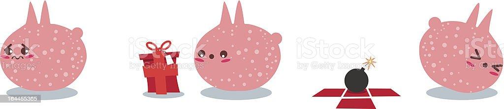Pink Creature Gets A Bomb As Present vector art illustration