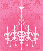 Pretty Pink Crystal Chandelier with wallpaper background. Layered File.