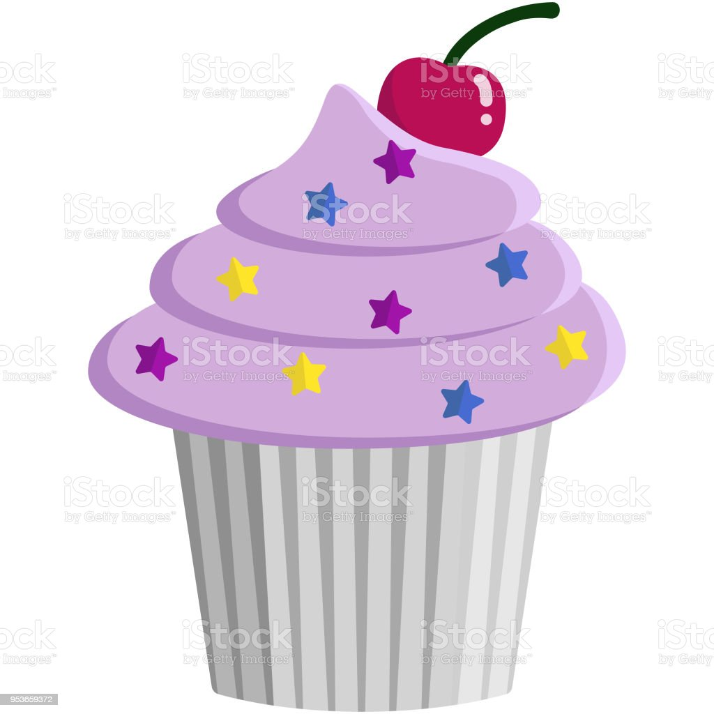 Pink Cupcake and Sprinkles Illustration vector art illustration