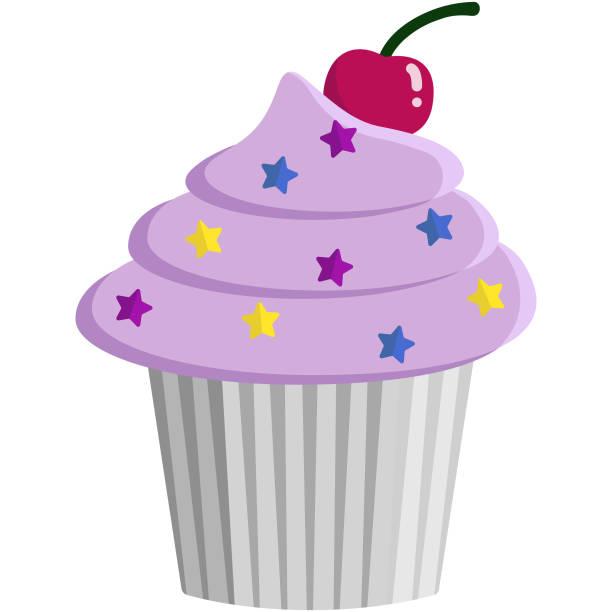 Pink Cupcake and Sprinkles Illustration vector art illustration