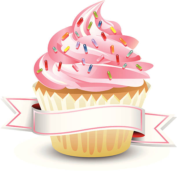 pink cupcake with banner - cupcake stock illustrations, clip art, cartoons, & icons