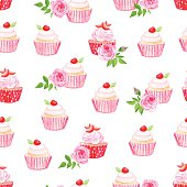 Pink cupcakes vector seamless pattern