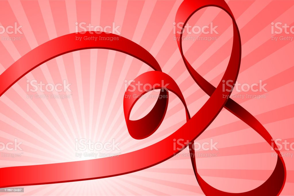 Pink curled ribbon against a striped pink background. vector art illustration