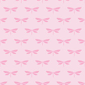 Pink cute dragonfly seamless pattern background.