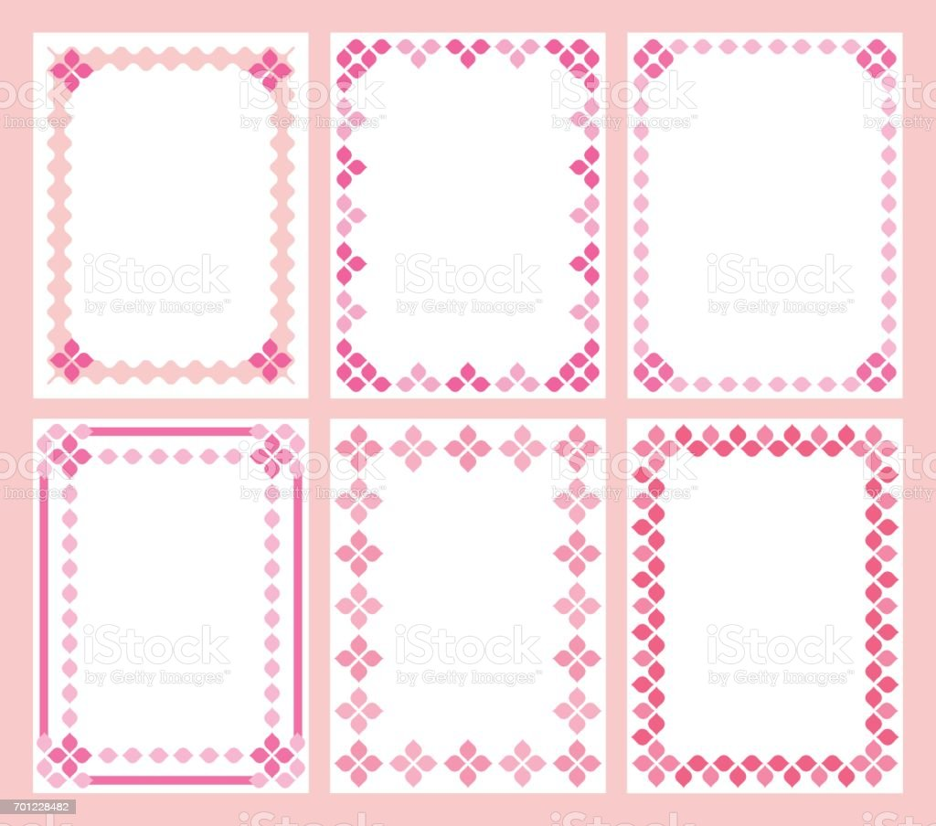 Pink Cute Frames Stock Vector Art & More Images of Abstract ...