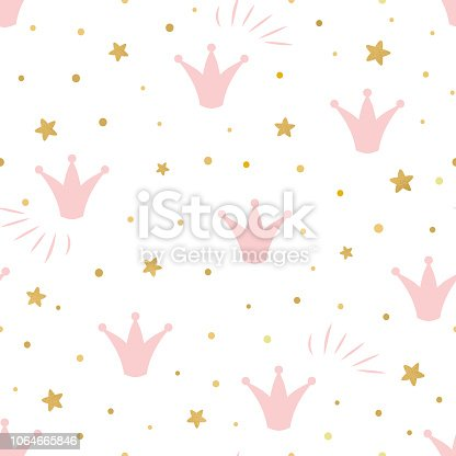Pink Cute Princess Pattern Seamless Background With A Pink Crown