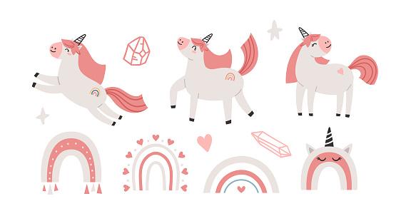 Pink cute unicorn kids isolated clipart bundle