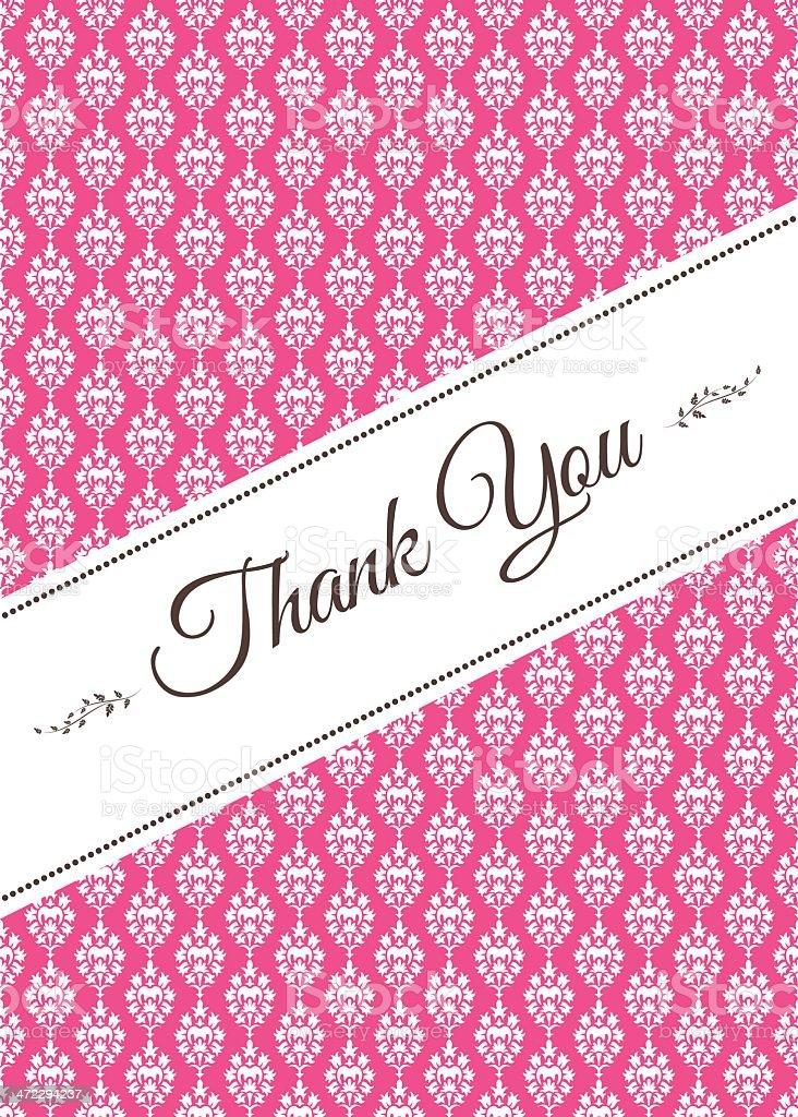 Pink Damask Thank You Card royalty-free pink damask thank you card stock vector art & more images of brown