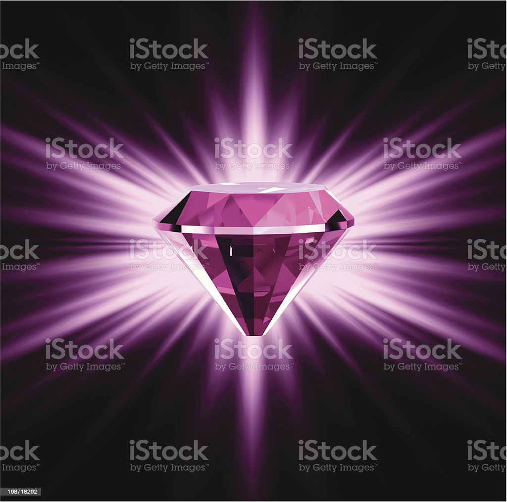 Pink diamond on bright background. Vector royalty-free stock vector art