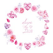 istock Pink diamonds, peonies and roses round vector frame 482558754