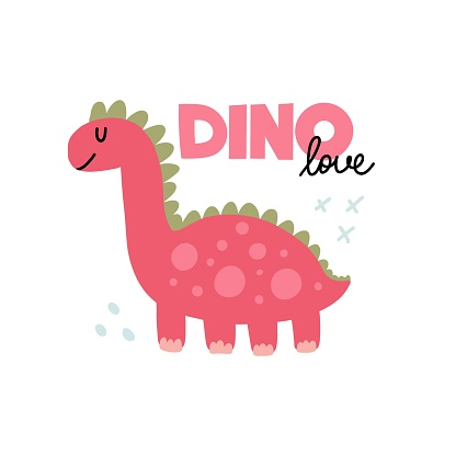 Pink dinosaur. Cute doodle dino hand drawn simple prehistoric animal for girl childish T-shirts, prints and nursery design, vector cartoon poster with text on white background