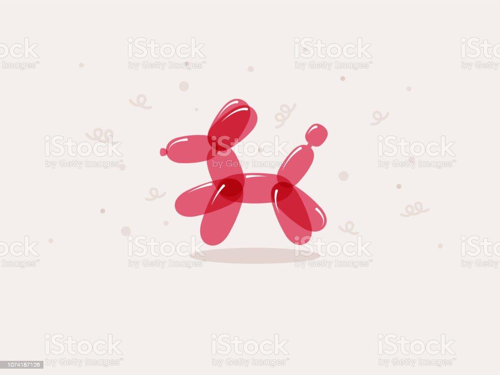 Pink dog balloon animal vector art illustration