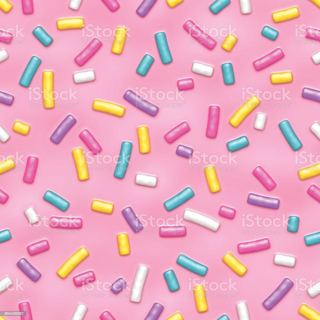 Pink donut glaze with sprinkles seamless pattern royalty-free stock vector art