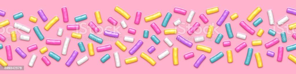 Pink donut glaze with sprinkles seamless pattern vector art illustration