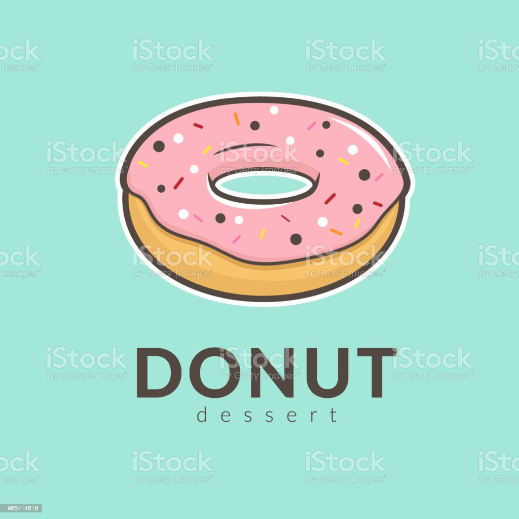 pink donut strawberry flavor with colorful sprinkles on top isolated on blue background. hand drawn cartoon vector illustration. royalty-free pink donut strawberry flavor with colorful sprinkles on top isolated on blue background hand drawn cartoon vector illustration stock vector art & more images of bakery