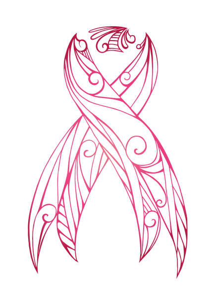 pink doodle ribbon with boho pattern. - breast cancer awareness stock illustrations