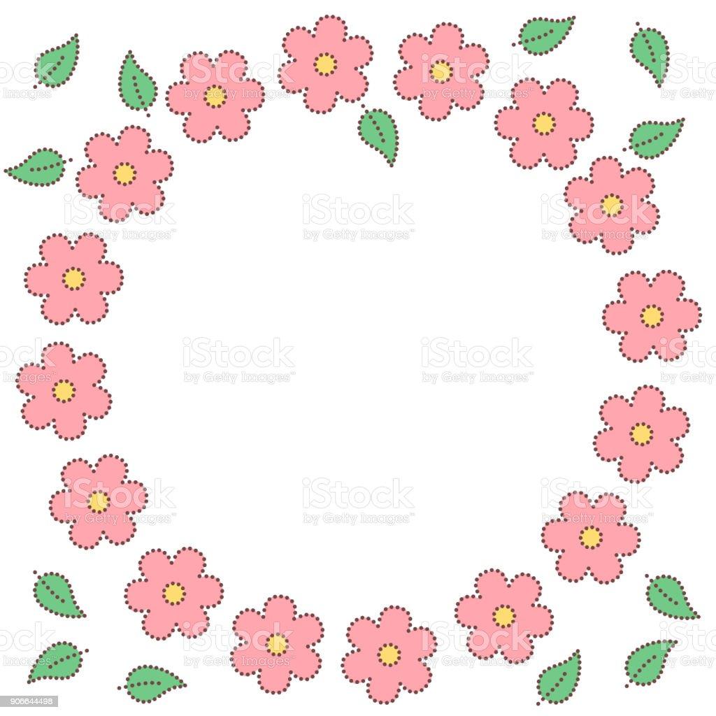 Ilustración de Sakura Puntillo Rosa Flores Y Hojas Marco Del Círculo ...