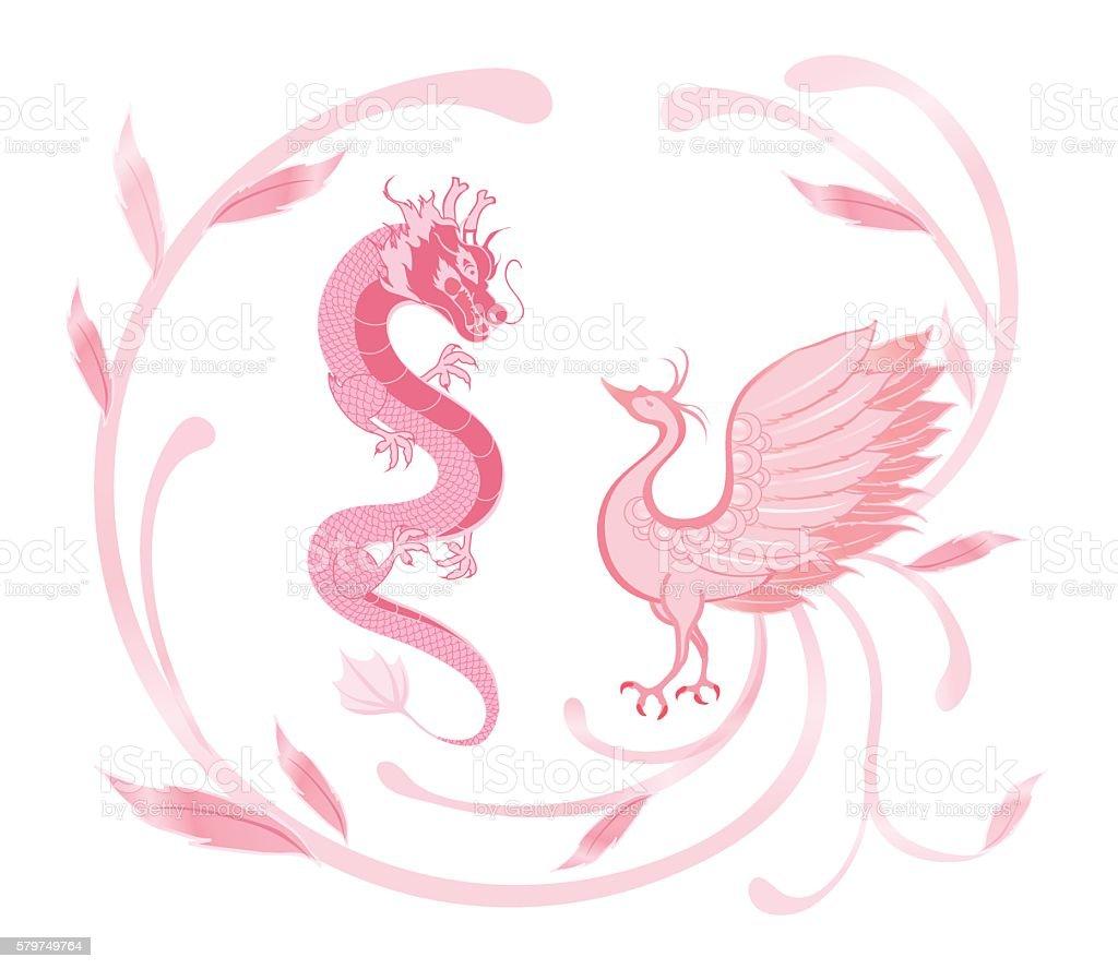 Pink dragon and phoenix for symbolism in chinese weddingisolated pink dragon and phoenix for symbolism in chinese weddingisolated royalty free pink dragon buycottarizona