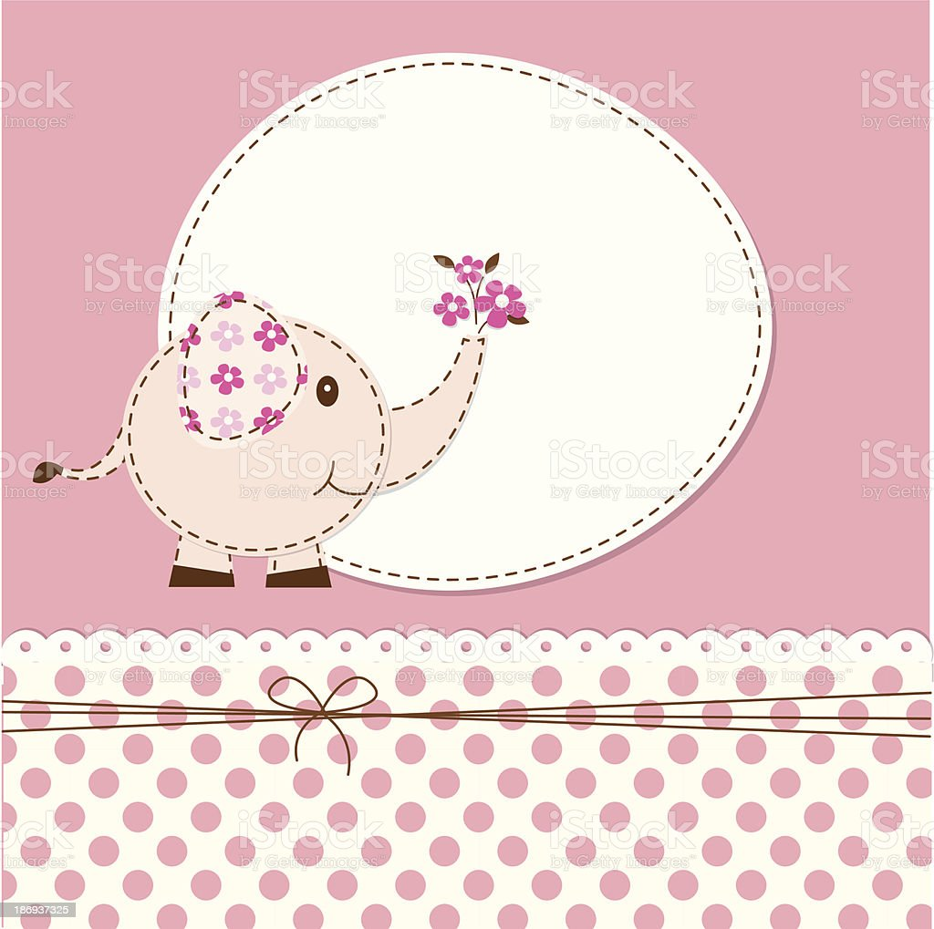 Pink Elephant Baby Shower Invitation With Flowers And Dots Stock ...