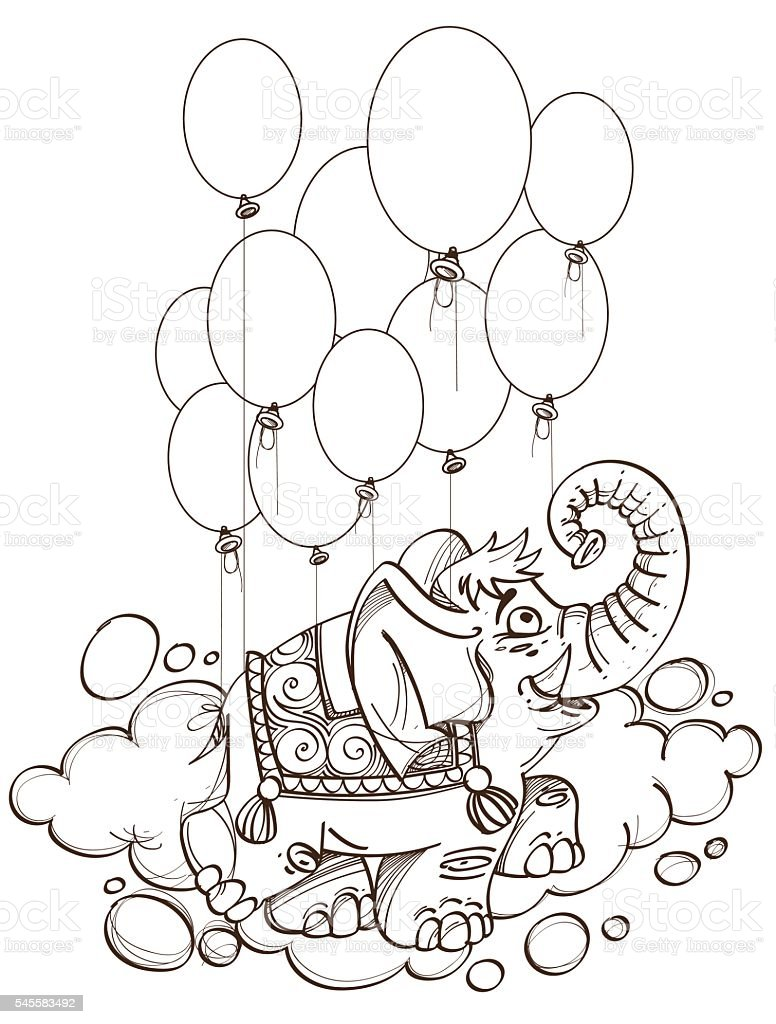 Pink Elephant Flying In Balloons Outline Illustration For Coloring ...