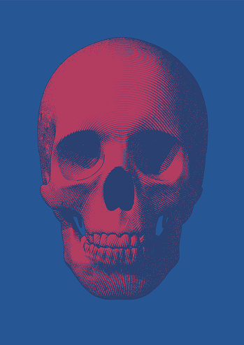 Pink engraving skull front view on blue BG