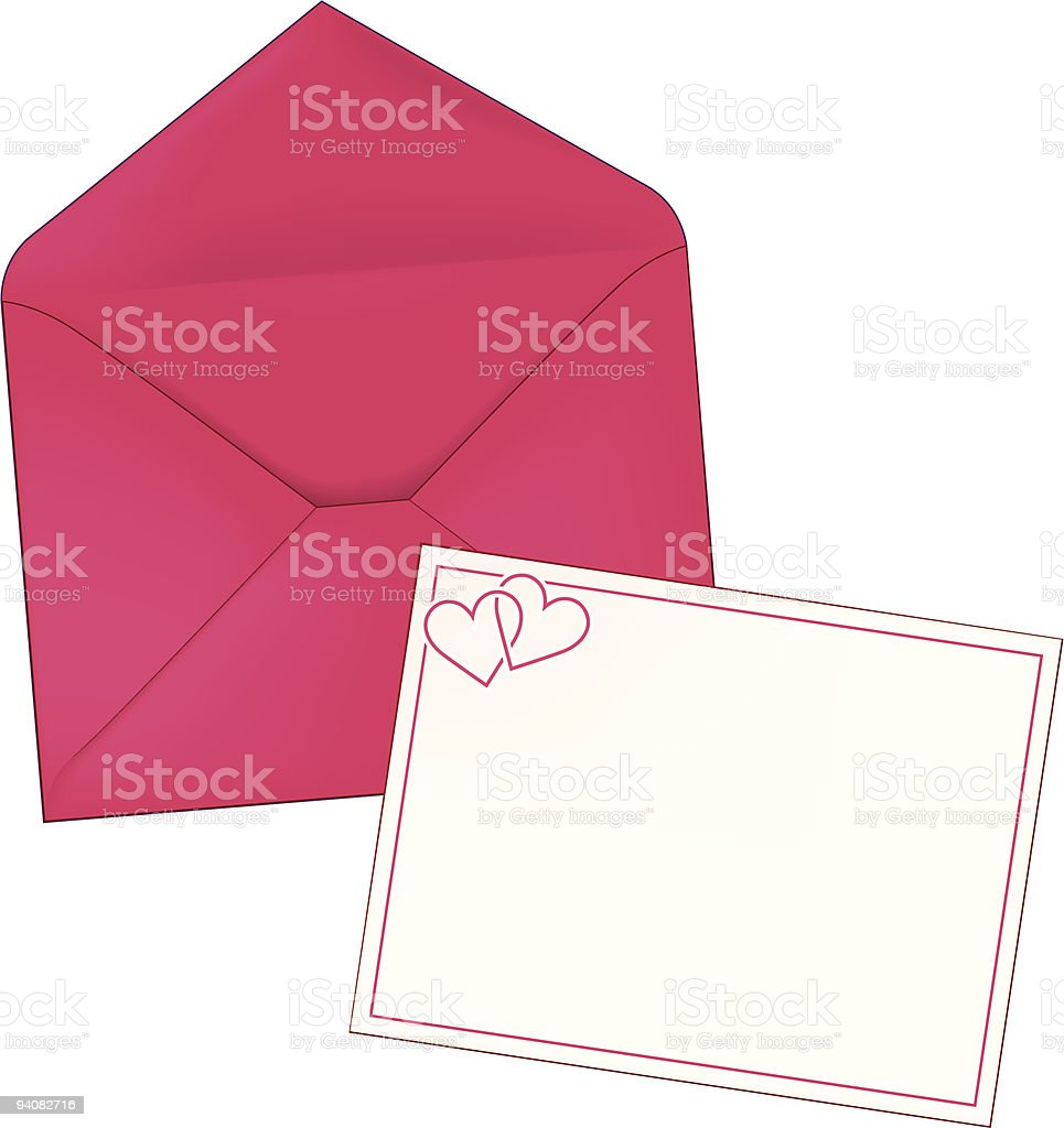 Pink Envelope with Double Heart Note Card royalty-free stock vector art
