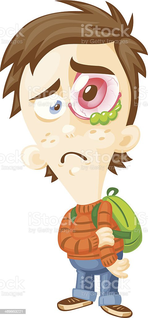 pink eye stock vector art more images of boys 469953221 istock rh istockphoto com pink eye cartoon character Pink Eye Humor