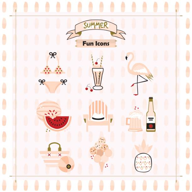 Pink fashion trends summer and beach fun icons set on pattern background Pink fashion trends summer and beach fun icons set on pattern background adirondack chair stock illustrations