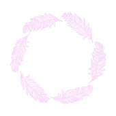 Pink Feathers Wreath. Design Element for Greeting Cards and Wedding, Birthday and other Holiday and Summer Invitation Cards Background.