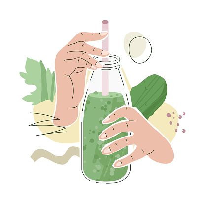 Pink Female Hands With Cucumber Juice