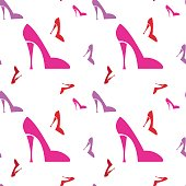Pink Female Shoe Seamless Pattern