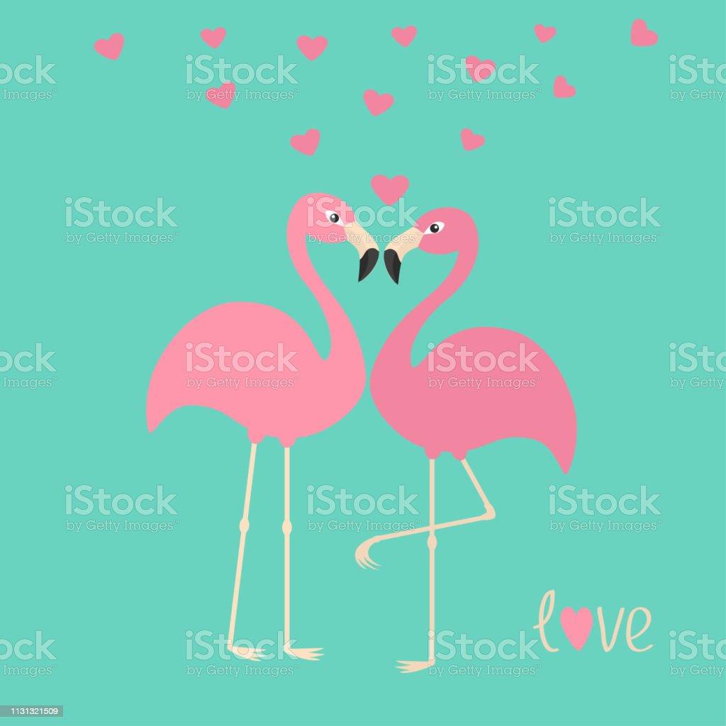 Pink flamingo couple and hearts. Exotic tropical bird. Zoo animal...