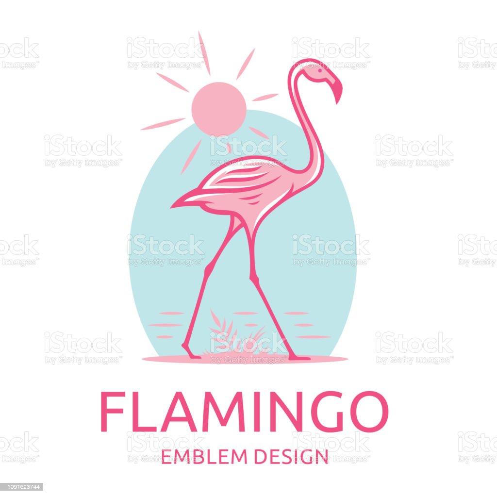 Vetores De Flamingo Rosa Vai Ao Longo Da água Ilustração Vetorial Emblema Imprimir Desenhos E Mais Imagens De Animal