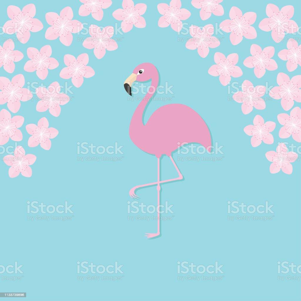 Pink flamingo on one leg. Exotic tropical bird. Zoo animal...