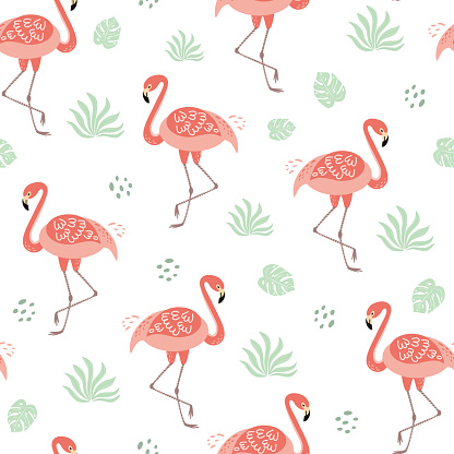 Pink flamingo seamless pattern tropical green leaves background Tropical cute print Summer hawaii exotic design Vector
