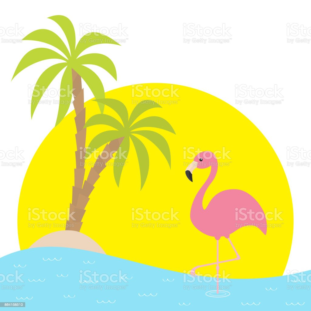 Pink flamingo standing on one leg. Two palms tree, island, ocean, see water, big sun sunset. Exotic tropical bird. Cute cartoon character. Zoo animal. Flat design. White background. Isolated. royalty-free pink flamingo standing on one leg two palms tree island ocean see water big sun sunset exotic tropical bird cute cartoon character zoo animal flat design white background isolated stock vector art & more images of abstract