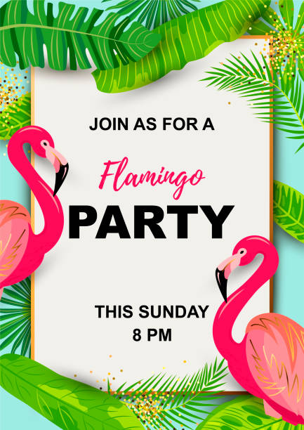 Pink flamingos and exotic palm leaves. Pink flamingos and exotic palm leaves. Tropical party vector illustration. Place for your text. Seasonal template for vacation, poster, banner, flyer, invitation, pool party. flamingo stock illustrations