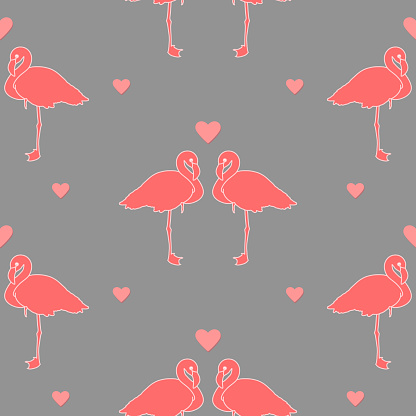 pink flamingos on gray repetitive background with hearts. simple birds. vector seamless pattern. fabric swatch. wrapping paper. continuous print. valentines romantic design element. love concept