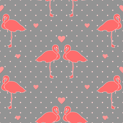 pink flamingos on gray repetitive polka dot background with hearts. vector seamless pattern. fabric swatch. wrapping paper. continuous print. valentines romantic design template. love concept
